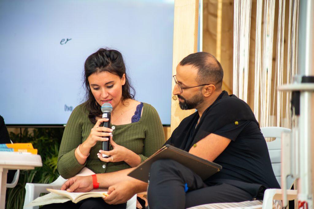 »Semra Ertan – Mein Name ist Ausländer« (Cana Bilir Meier, Ahmet Demir) / Reading & Talk @ Çaystube – Photo: Käthe deKoe